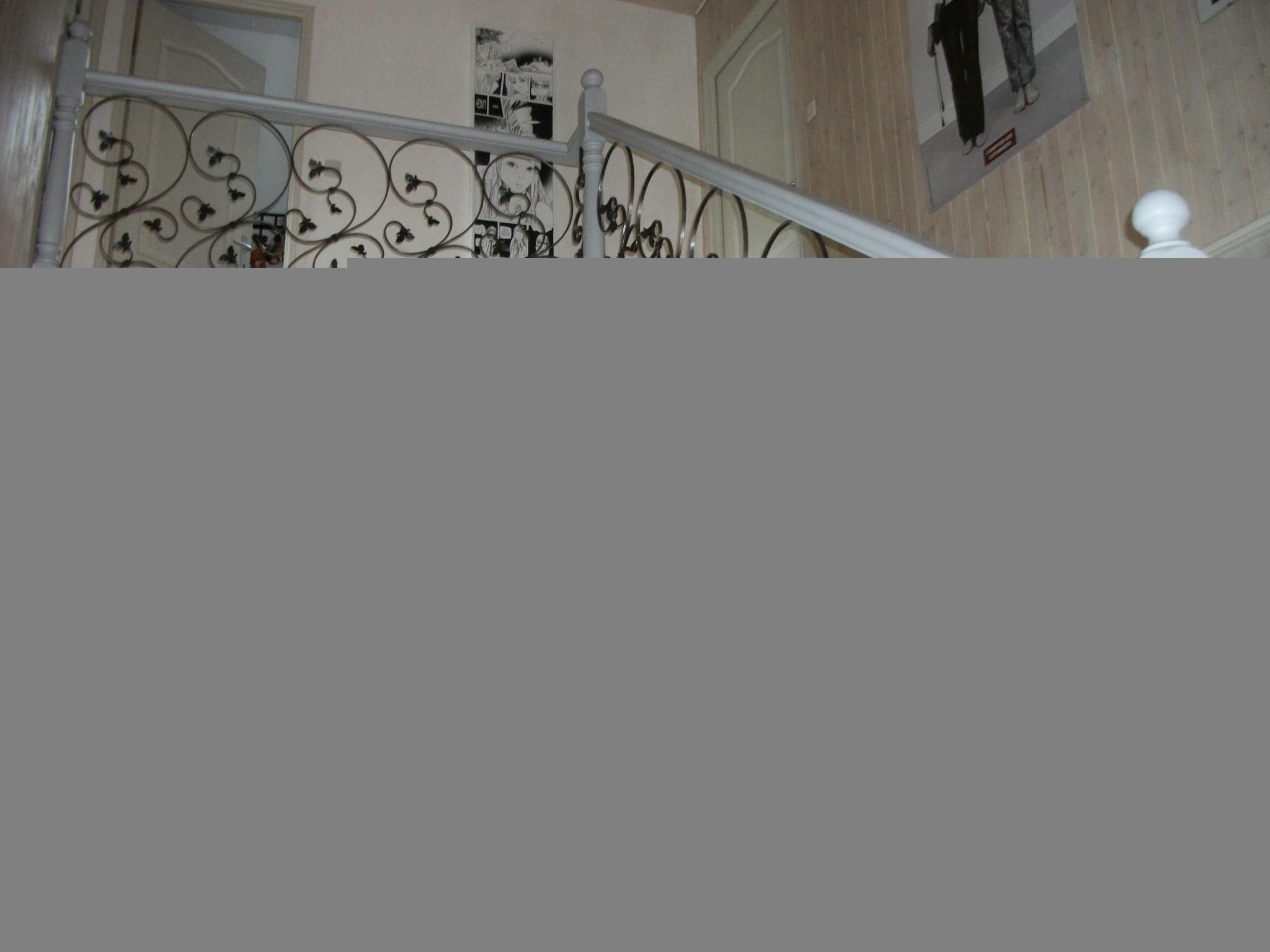 Création et fabrication complète par notre client d'une rampe d'escalier en bois avec ajout de grande volutes feuilles fer forgé  . Réalisation à partir de notre gamme de pièces détachées. Localisation Haut Rhin