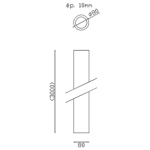 Tube Fût alu lisse  H3000 - Ø80 -ép. 10 mm