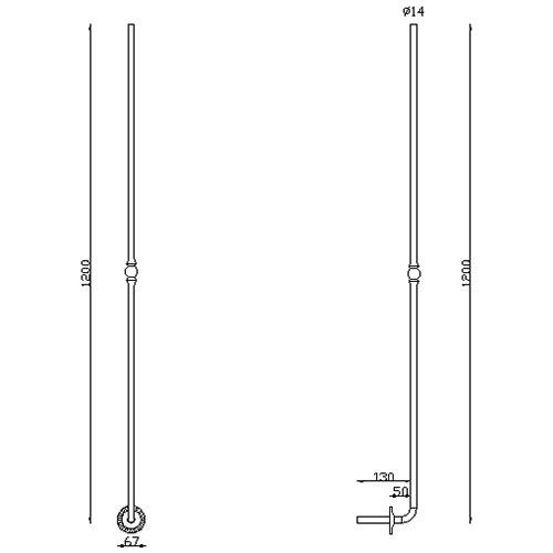 Barreau rond diam 14 avec rosace H 1200mm