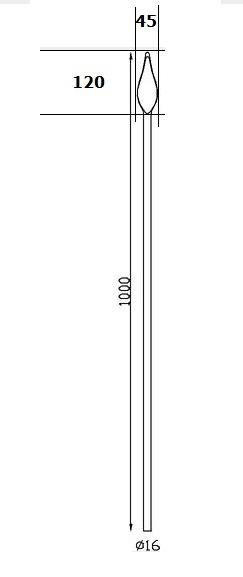 Barreaux rond Ø16 H1000
