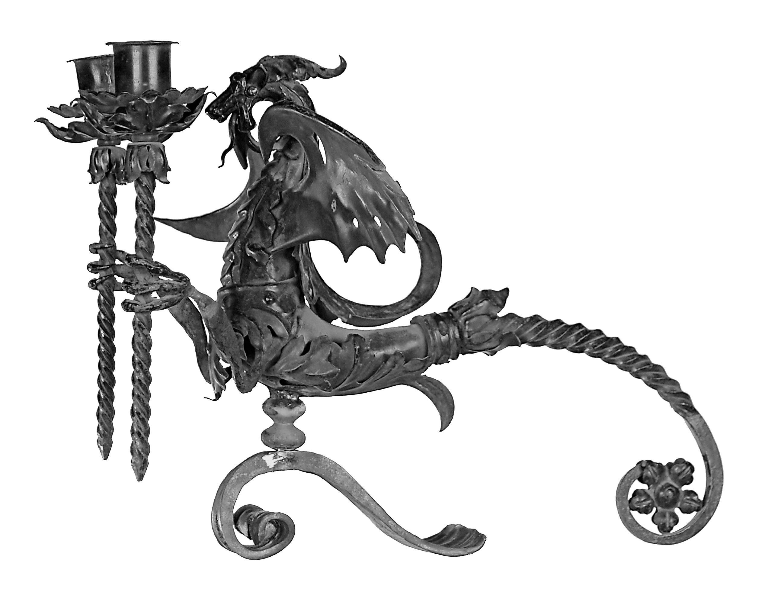 Bougeoir avec dragon pour 2 bougies