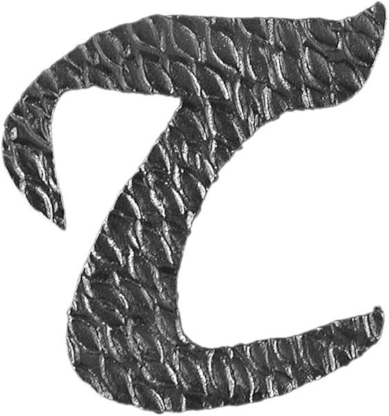 Lettre T d'hauteur 100mm. Tous les caractères de l'alphabet sont en fer forgé. Épaisseur de 3mm.