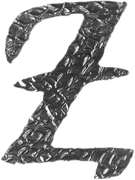 Lettre Z d'hauteur 100mm. Tous les caractères de l'alphabet sont en fer forgé. Épaisseur de 3mm.