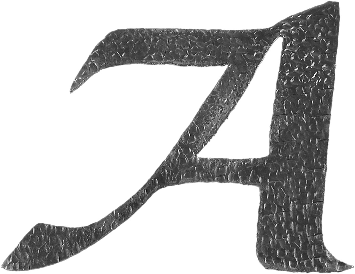 Lettre A d'hauteur 200mm. Tous les caractères de l'alphabet sont en fer forgé. Épaisseur de 3mm.