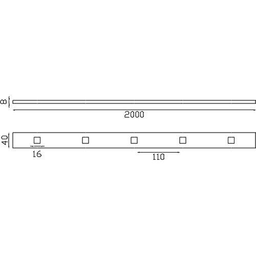 Barre trouée - Hauteur 2000mm.