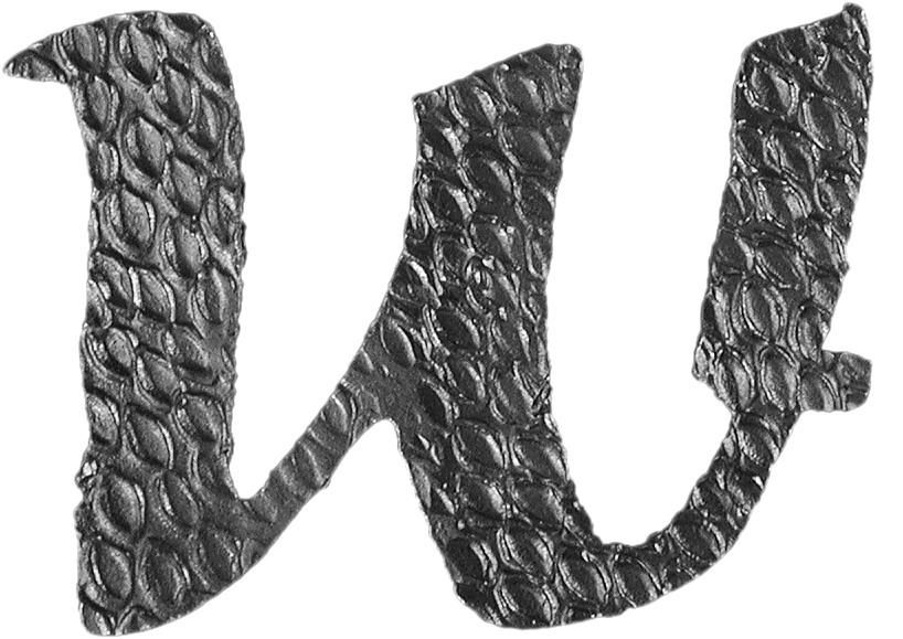 Lettre W d'hauteur 200mm. Tous les caractères de l'alphabet sont en fer forgé. Épaisseur de 3mm.