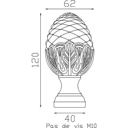 Pomme de pin Alu taraudée M10