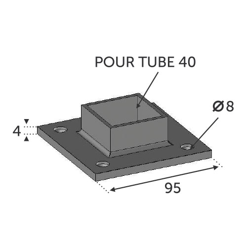 Support platine pour tube 40x40 inox 316