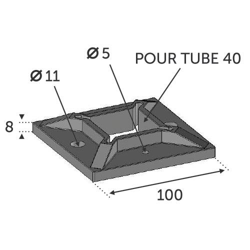 Embase à souder pour tube carré 40x40- INOX 316