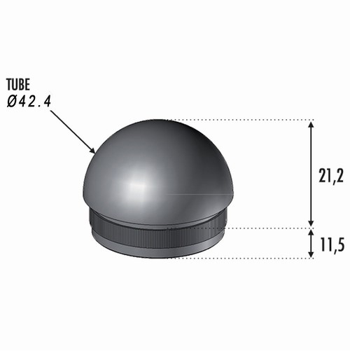 Finition Boule Tube Ø42.4 ép 2mm