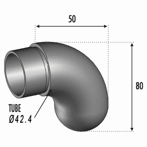 Finition à 90° pour Tube Ø42.4