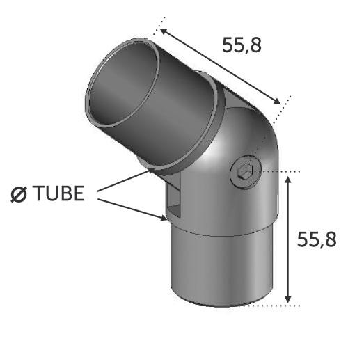 Connecteur réglable pour tube Ø42,4