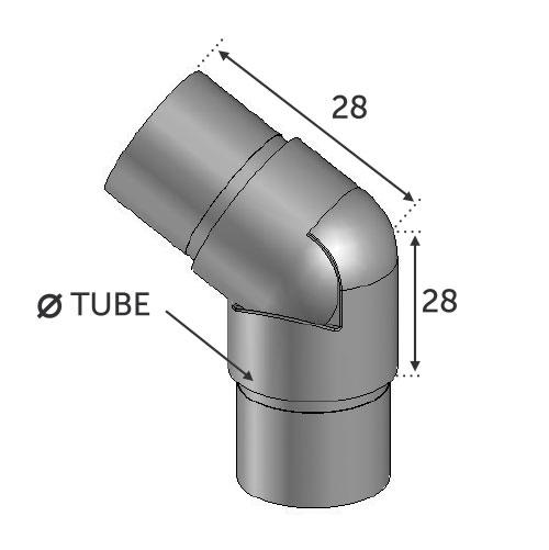 Connecteur Réglable180°/135° Tube Ø42.4 - INOX 304