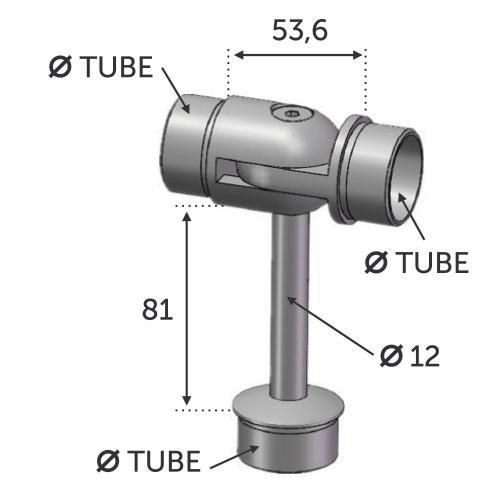 Connecteur réglable en T 3 Ø42.4 ép 2mm