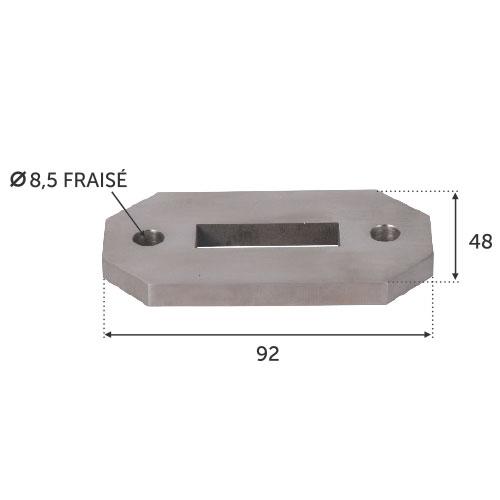 Platine 92x48 pour montage 30430216 INOX 316