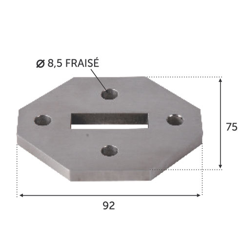 Platine 92x75 pour montage 30430216 INOX 316