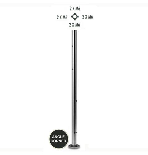 Poteau d'angle inox 316 h970mm pour cable et verre