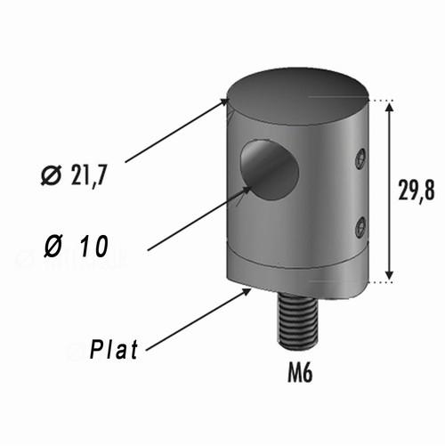 Connecteur perçage Ø10 Fixation sur Plat INOX 316