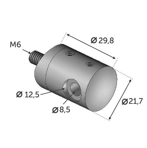 Connecteur en applique pour depart DROIT cable ø4