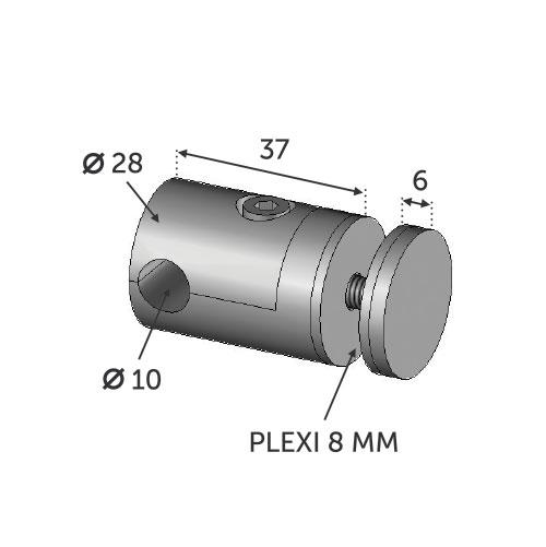 Connecteur INOX 316 pour pose plexi 8mm sur ø10mm