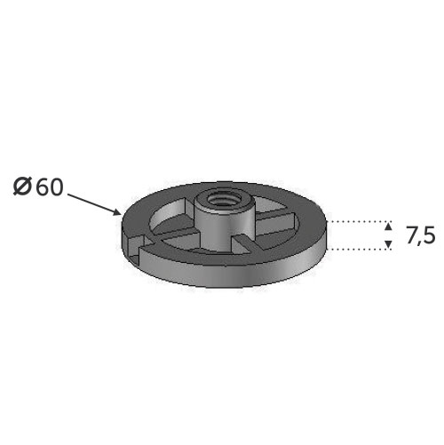Platine de serrage M12 ø60 - INOX 304