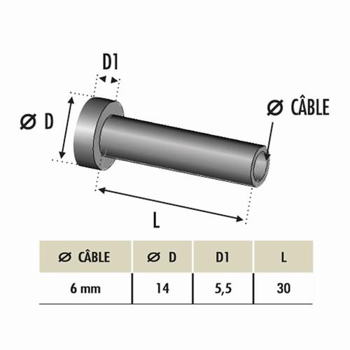 Départ à sertir pour câble Ø6