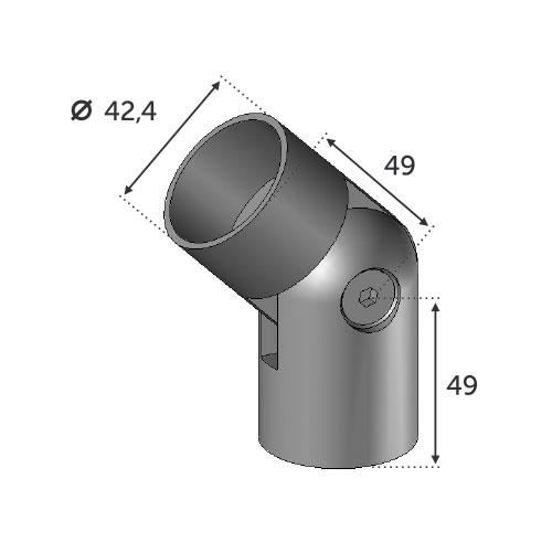 Connecteur réglable main courante bois 42mm INOX 304