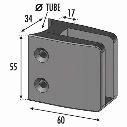 Pince à Verre - Fixation sur Tube Ø42.4- INOX 316