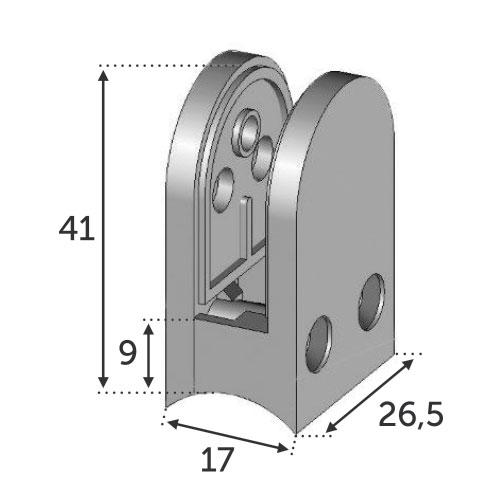 Pince à Verre 26x41 - Fixation Tube Ø18 - Zamac Brut