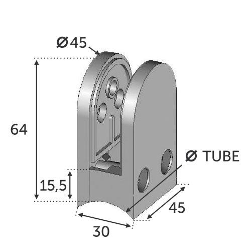 Pince à Verre Fixation sur Tube Ø42.4 - Zamac Brut