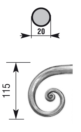Crosse pour main courante rond 20 mm martelé