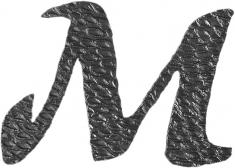 Lettre M en fer forgé