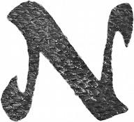 Lettre N en fer forgé