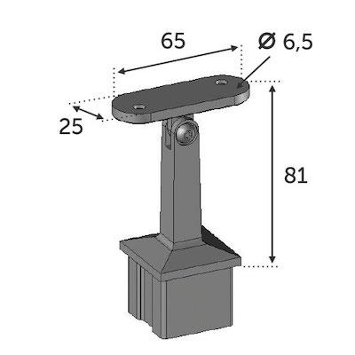 Support main courante carré 40x40 ép 2mm