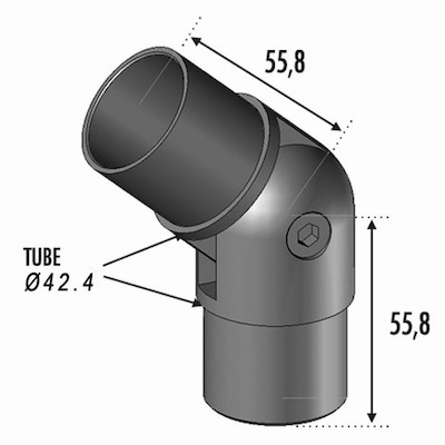 Connecteur Réglable Tube Ø42.4 ép 2mm