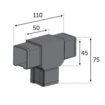 Connecteur en T 3 Tubes 40x40 ép 2mm
