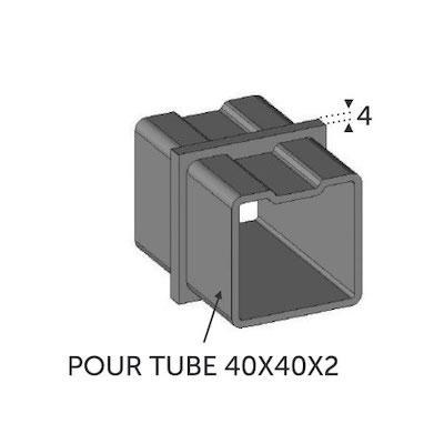 Connecteur droit Tube carré 40x40 ép 2mm