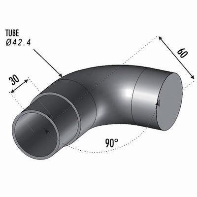 Finition arrondie90 ° Tube Ø42.4 ép 2mm