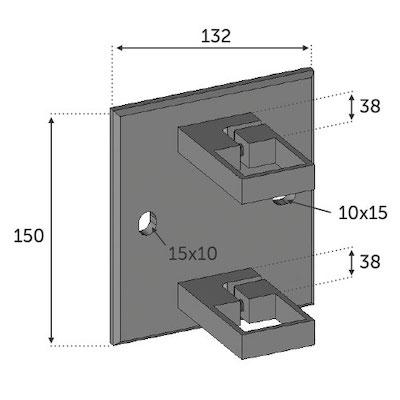 Fixation à l'anglaise Platine carrée pour Tube 40