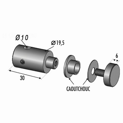 Connecteur pour rond ø10 INOX 316 fixation plex 8mm