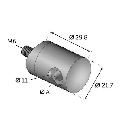 Connecteur en applique cable ø4 INOX 316 tube 42.4