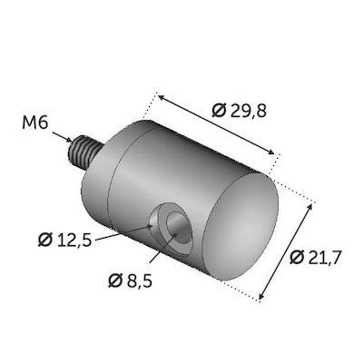 Connecteur en applique depart GAUCHE cable ø4