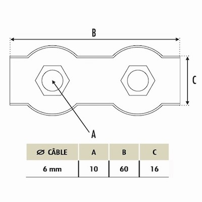 Bloque cable 6mm