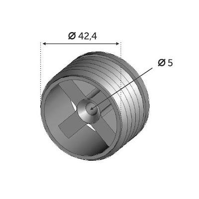 Connecteur nylon pour main courante bois 42mm