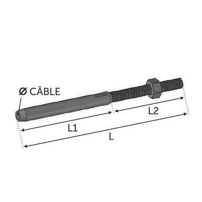 Tendeur à sertir cable Ø4 avec M6 droit