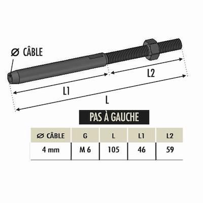 Tendeur à sertir cable Ø4 avec M6 gauche