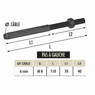 Tendeur à sertir cable Ø6 avec M8 gauche