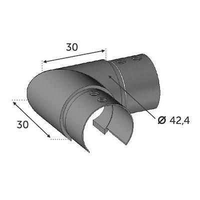 Connecteur à 90° horizontal Tube Ø42.4 pour verre