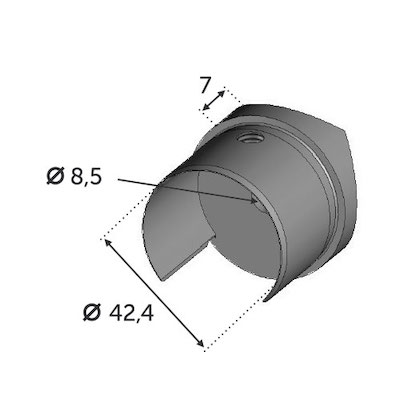 Support pour Tube Ø42.4 avec verre - INOX 304