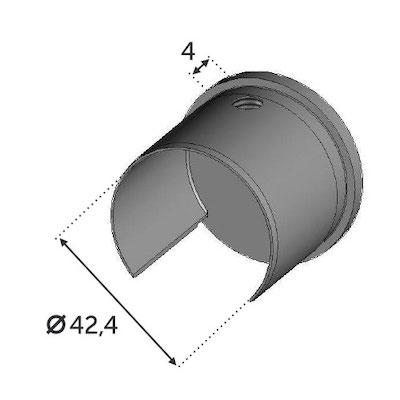 Finition plate pour Tube Ø42.4 ép. 2mm pour verre